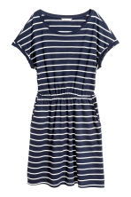 Short-sleeved jersey dress - Dark blue/Striped - Ladies | H&M CA 2