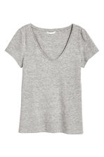 V-neck jersey top - Grey marl - Ladies | H&M 2