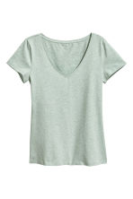 V-neck jersey top - Mint green marl - Ladies | H&M CN 2