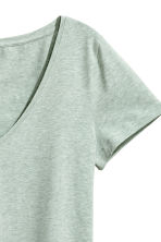 V-neck jersey top - Mint green marl - Ladies | H&M CN 3