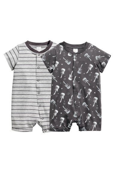 2-pack all-in-one pyjamas - Grey/Striped - Kids | H&M 1