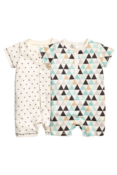 2-pack all-in-one pyjamas - Natural white - Kids | H&M CA 1