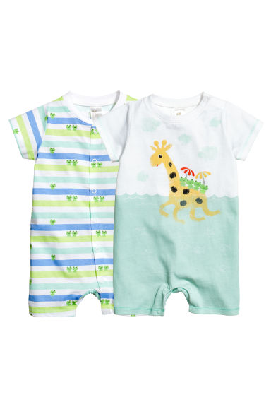 2-pack all-in-one pyjamas - White/Giraffe -  | H&M 1