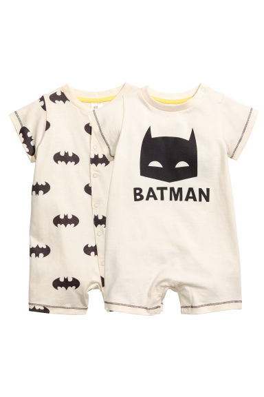 2-pack all-in-one pyjamas - Natural white/Batman - Kids | H&M CN 1