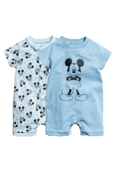 2-pack all-in-one pyjamas - Light blue/Mickey Mouse - Kids | H&M CN 1