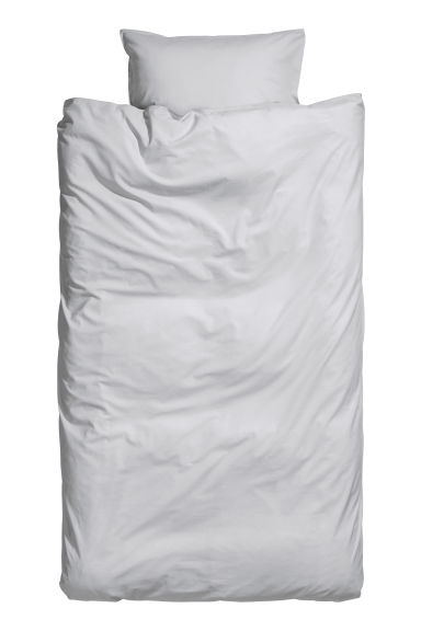 Washed cotton duvet cover set - Light grey - Home All | H&M CA 1