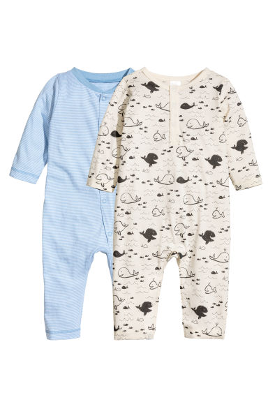 2-pack all-in-one pyjamas - Light blue/Striped - Kids | H&M 1