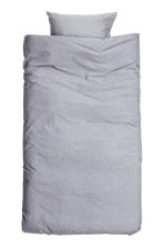 Cotton chambray duvet set - Light grey - Home All | H&M CN 3