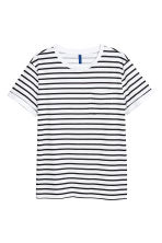 T-shirt with a chest pocket - White/Black striped - Men | H&M 2