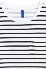 T-shirt with a chest pocket - White/Black striped - Men | H&M 3