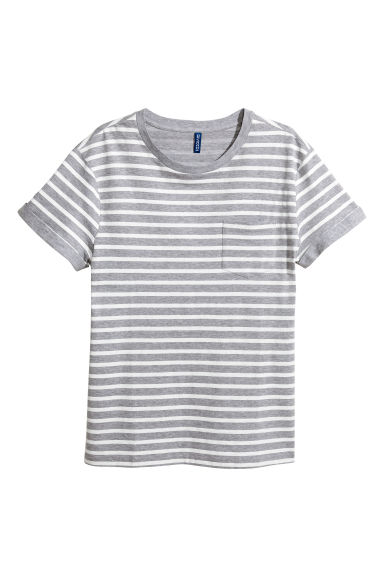 T-shirt with a chest pocket - Grey/White striped - Men | H&M