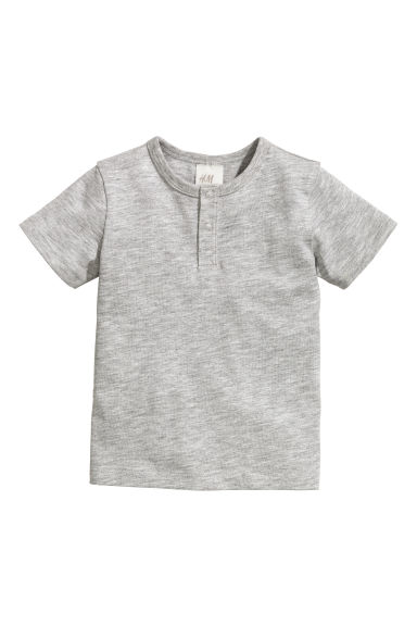 Short-sleeved Henley shirt - Grey - Kids | H&M