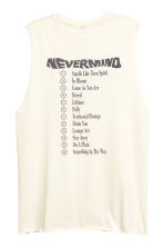 Printed vest top - Natural white/Nirvana -  | H&M 3