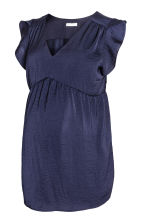 MAMA V-neck blouse - Dark blue - Ladies | H&M CN 2