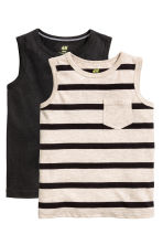 2-pack tops - Light beige/Striped - Kids | H&M CA 2
