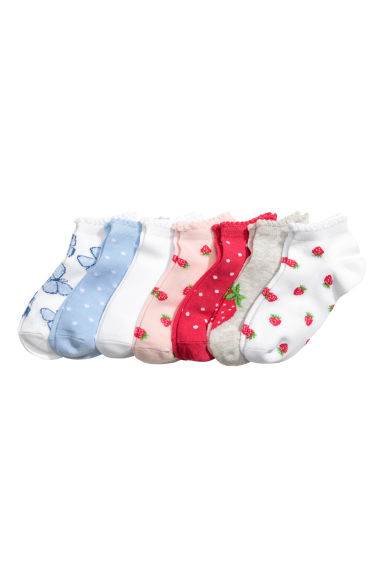 7-pack trainer socks - White/Strawberries - Kids | H&M
