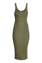 Ribbed dress - Dark olive green - Ladies | H&M CN 3