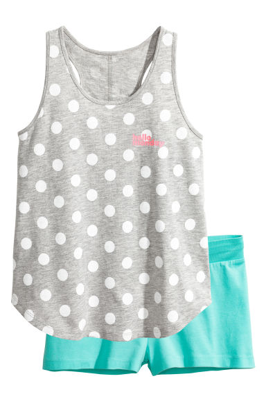 Jersey pyjamas - Grey/Spotted - Kids | H&M CN 1