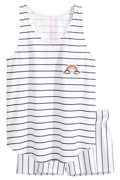 Jersey pyjamas - White/Striped - Kids | H&M 1