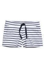 Jersey shorts - White/Dark blue/Striped - Kids | H&M CN 2