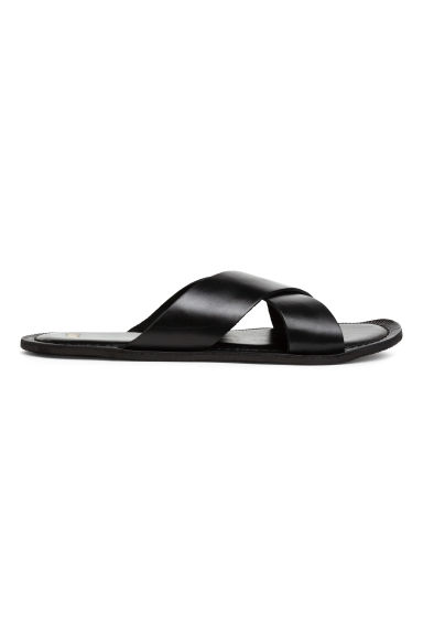 Leather sandals - Black - Men | H&M CN 1