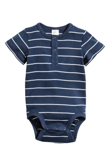 Short-sleeved bodysuit - Dark blue/Striped - Kids | H&M 1
