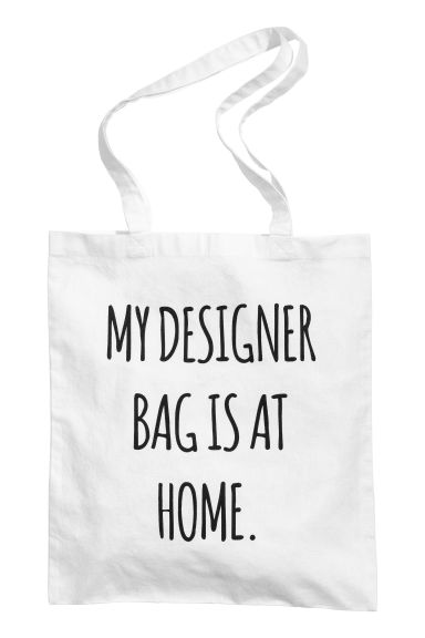 Printed tote bag - White/Text - Ladies | H&M 1