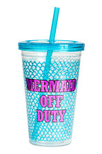 Plastic mug with a straw - Turquoise - Ladies | H&M 1