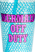 Plastic mug with a straw - Turquoise - Ladies | H&M 2