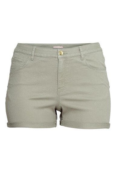 H&M+ Twill shorts - Light khaki green - Ladies | H&M CA
