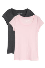 2-pack tops - Light pink/Dark grey - Ladies | H&M CN 2