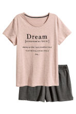 Pyjamas with top and shorts - Old rose - Ladies | H&M CN 2