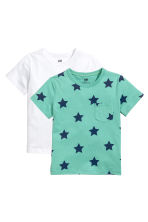 2-pack T-shirts - Dark turquoise/Stars - Kids | H&M 1