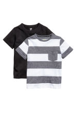 2-pack T-shirts - Black/White/Striped - Kids | H&M CA 2