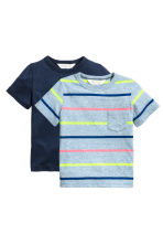 Lot de 2 T-shirts - Bleu chiné/rayé - ENFANT | H&M FR 2