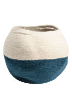 Jute storage basket - Natural white/Dark blue - Home All | H&M CN 1