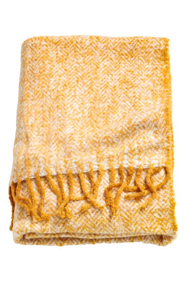 Herringbone-patterned blanket - Mustard yellow - Home All | H&M CN 1