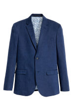 Blazer in misto lino Slim fit - Navy/fantasia - UOMO | H&M IT 2