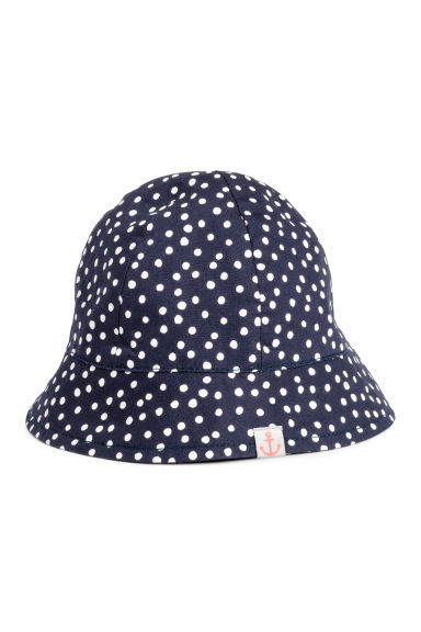 Cotton sun hat - Dark blue/Spotted - Kids | H&M CN 1