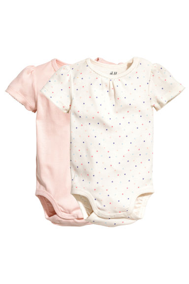 2-pack bodysuits - Nat. white/Spotted - Kids | H&M 1