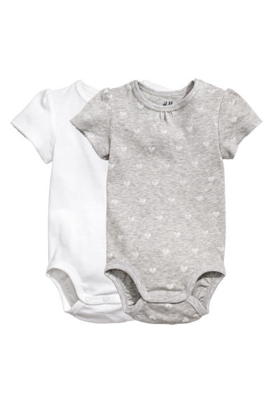 2-pack bodysuits - Grey heart - Kids | H&M CN