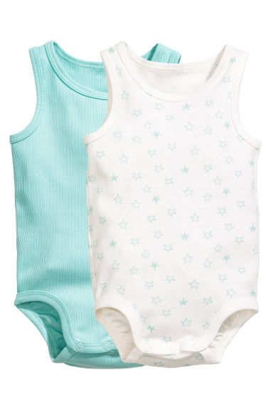2-pack sleeveless bodysuits - Mint green -  | H&M CN 1
