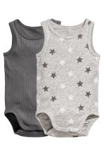2-pack sleeveless bodysuits - Grey -  | H&M 1