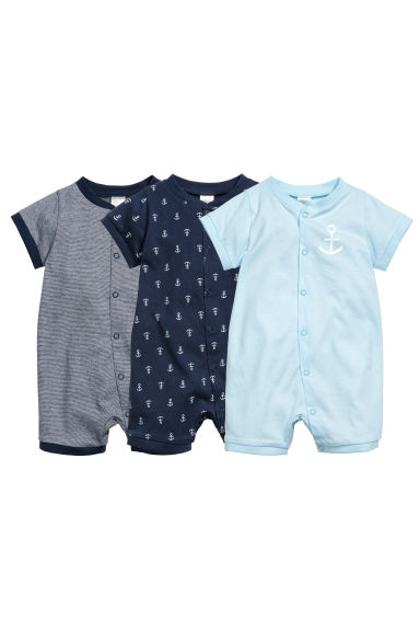 3-pack all-in-one pyjamas - Dark blue/Anchor - Kids | H&M CN 1
