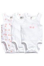 3-pack sleeveless bodysuits - White/Cherry -  | H&M 1