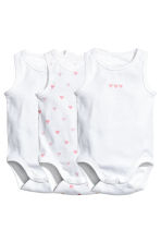 3-pack sleeveless bodysuits - White/Heart - Kids | H&M 1
