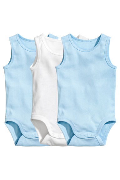 3-pack sleeveless bodysuits - Light blue - Kids | H&M CN 1