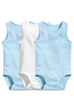 3-pack sleeveless bodysuits - Light blue - Kids | H&M 1