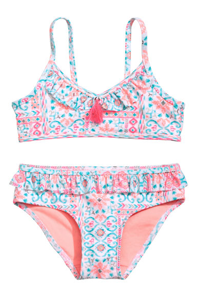 Bikini with frills - White/Patterned - Kids | H&M CA