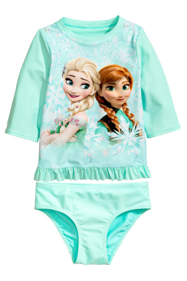 UPF 50 兩件式泳裝 - Mint green/Frozen - Kids | H&M 1